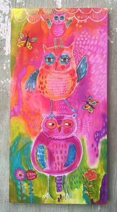 Original acrylic painting on a 10 x20 inch wood panel with 1 inch sides painted pink. It is sealed and has a wire hanger.
