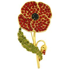 Gold Plated and Red and Green Crystal Poppy Brooch Remembrance Poppy, Royal British Legion, Poppy Brooches, Small Flowers, Peridot, Red Green, Poppies, Swarovski Crystals, Product Launch