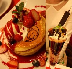 Moogle pancakes and a Buster Sword milkshake at the Final Fantasy Cafe in Shinjuku, Japan! Yummy Treats, Sweet Treats, Yummy Food, Bento, Japan Honeymoon, Robot Restaurant, Tokyo Japan, Shinjuku Japan, Food Wishes
