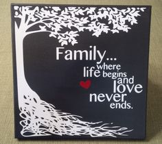 Where Life Began And Love Never Ends Vinyl On Canvas Black White Art Family Wall Tree By KimmsHomeDecor Etsy
