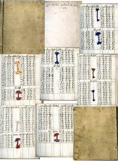 Mrs.Phelita Millward's sample book of braiding techniques. (British, active 17th century) Date: 1654 Medium: Manuscript Dimensions: Overall: 7 5/16 x 6 x 11/16 in. (18.5 x 15.3 x 1.7 cm) Classification: Albums Credit Line: Harris Brisbane Dick Fund, 1933 Accession Number: 33.50