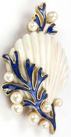Trifari 'Alfred Philippe' Blue Coral Pearl Bubbles and White Scallop Seashell Pin