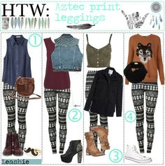 """""""HTW: Aztec Print Leggings ▲"""" by the-hipster-tip-sisters ❤ liked on Polyvore"""