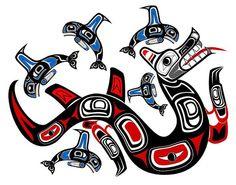Wasgo Sea Wolf Poster by Fred Croydon Native Canadian, Native American Art, Haida Tattoo, Wolf Poster, Half Sleeve Tattoos For Guys, Haida Gwaii, Arte Tribal, Sea Serpent, Haida Art