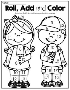 Roll 3 Dice, add them up and color the picture. What a FUN