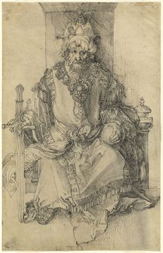 Albrecht Dürer, 1471-1528, German, An Oriental Ruler Seated on His Throne, c.1495. Pen and black ink on laid paper: 30.6 x 19.7 cm. National Gallery of Art, Washington D.C.