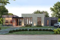 Estudio NF y Asociados Villa Design, Facade Design, Exterior Design, Architecture Design, Modern House Facades, Modern House Plans, Modern House Design, Bungalow Haus Design, House Outside Design