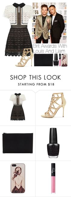 """""""Brit Awards with Louis and Liam"""" by lovatic92 ❤ liked on Polyvore featuring self-portrait, Sergio Rossi, Alexander Wang, OPI, Caso and NARS Cosmetics"""