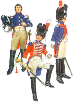 • Marechal-des-logis of the 1st Carabiniers, 1808-1810 • Trumpeter of the 1st Carabiniers, early 1810 • Officer of carabiniers in full dress, 1807-1810