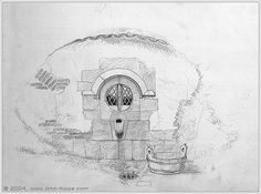John Howe Bag End Concept drawing  (Kitchen Exterior)