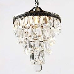 Vintage Wrought Iron 14.1 H Small Crystal Chandelier