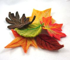 Fall Leaves Decoration Set of Six Needle Felted by idreamingreen
