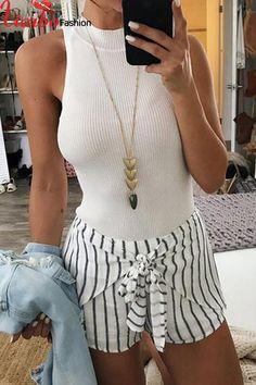 2018 New Stylish Summer Sexy Women Shorts Elastic High Waist Shorts Casual Striped Korean Style Mini Bandage Shorts Plus Size Tie Shorts, Casual Shorts, Striped Shorts, Casual Outfits, Ripped Denim, Stripe Print, Stripe Pattern, Hot Pants, Black White Stripes