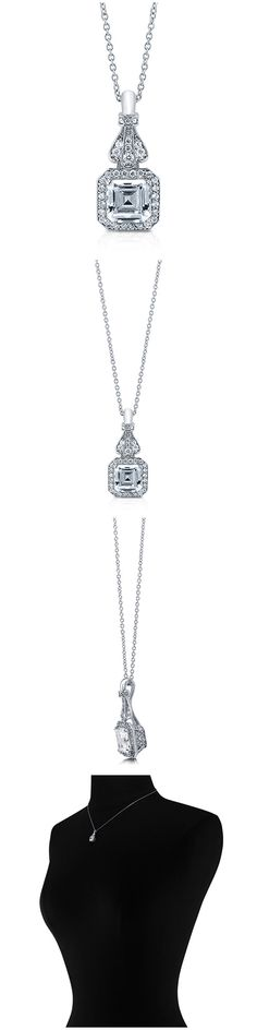 Sterling Silver Asscher CZ Halo Fashion Necklace