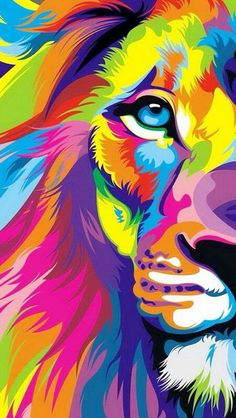 Beautiful, artistic lion with colorful mane and wondering eyes
