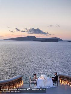 destination wedding in santorini greece vow renewal intimate the rooftop ceremony reception