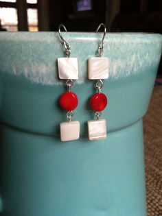 Natural White Shell Red Bamboo Coral Dangle Earrings by GalleryEMW, $6.50