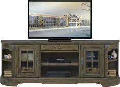 Mountain Bluff II Hickory 88 in. Console - Rooms To Go Furniture, Flat Screen Tv Stand, Rustic Tv Console, Console Furniture, Home Entertainment, Stylish Furniture, New Homes, Rooms To Go, Tv Console Modern