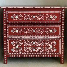 """We love seeing creative stencil projects! Carolyn shared on Instagram, """"Finished my wet weather project! Fabulous stencils from Cutting Edge Stencils worked so well in transforming a basic IKEA chest."""" Share your stencil project in the comments or using the #cuttingedgestencils Get the Indian Inlay Stencil Kit here: http://www.cuttingedgestencils.com/indian-inlay-stencil-furniture.html"""