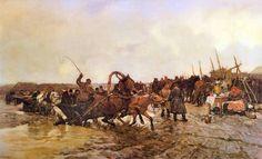 """Józef Marian Chełmoński(1849-1914), """"Przeprawa -Jarmark"""", 1883"""