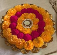 Buy Infinity Sales And Services Rangoli Tlite Artificial Marigold Flower Mat on Canvas (30 cm, Orange and Yellow) Online at Low Prices in India - Amazon.in