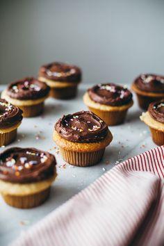 tahini cupcakes with tahini chocolate frosting