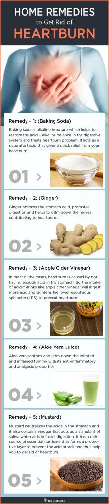 Home Remedies to Get Rid of Heartburn  Heartburn is caused due to eating too much food at once, overweight, genetics, stress, over usage of certain pills, spicy or oily foods, etc. natural home remedies along with preventive steps to get rid of heartburn.