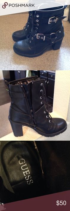 Black GUESS Highhill boots A very comfortable black high hills that go well with dressing up or dressing down never wear GUESS Shoes Combat & Moto Boots