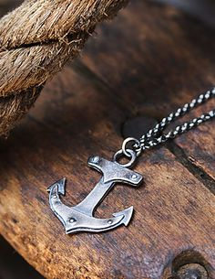 "Limited Edition Sterling Silver Anchor Necklace with Rivets. Great industrial look.Oxidized finish.UnisexHandmadeAnchor is approximately 1"" long. Chain is 18"" l"