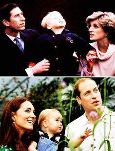 The Prince & Princess of Wales & Prince William, 1983. // The Duke & Duchess of Cambridge & Prince George, 2014. Love this picture.