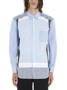 Comme Des GarÇons Shirt Pinstripe And Wool Patch Cotton-poplin Shirt In Multi Comme Des Garçons Shirt, Comme Des Garcons, Tailored Suits, Mother Of Pearl Buttons, Houndstooth, Poplin, Hooded Jacket, Contrast, How To Wear