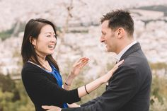 This Athens Surprise Proposal between a beautiful young couple, a fairy tale story. Brian proposed to Akiyo at Lycabetus Hill, Athens overlooking Acropolis. Surprise Proposal, Young Couples, Athens, Couple Photos, Photography, Beautiful, Couple Shots, Photograph, Fotografie