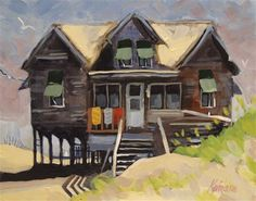 """Daily Paintworks - """"Beach Cottage 10"""" by Kevin Larson"""