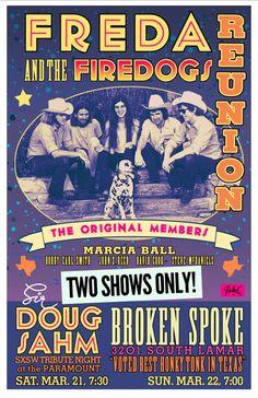 Freda & the Firedogs Reunion | Sunday, March 22, 2015 | 7pm-?? | The Broken Spoke: 3201 S. Lamar Blvd., Austin, TX | Free showcase | Details: http://2015.do512.com/fredaandthefiredogsreunion2015
