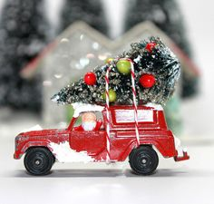 Vintage Red Panel Truck Tootsie Toy with Bottle Brush Christmas Tree*Vintage Christmas on Etsy, $18.50