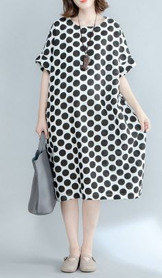 Women loose fit plus over size pocket dress polka dots maxi tunic fashion chic #unbranded #dress #AnyOccasion