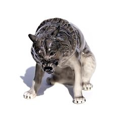 Wolf porcelain, animal figurine, high-quality, large statues, video by GlassFigurinesStudio on Etsy