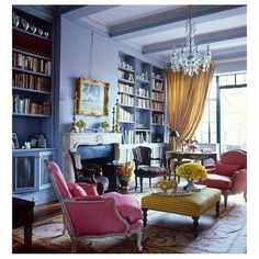 …color palate inspiration. Lavender, yellow & pink look so chic together in this Parisian room. #thelife #love