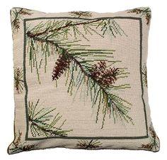 Pine Bough Needlepoint Pillow - Western Decor - Cabin Decor buy at Lights in the Northern Sky. www.lightsinthenorthernsky.com