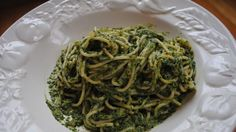 Caesar-Style Kale Pesto Pasta - make with whole wheat pasta and have a piece of fish or chicken on the side