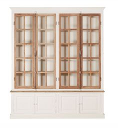 Wood Glass Door, Wood Doors, Rustic White, White Wood, Living Room Bookcase, Living Room Display Cabinet, Kitchen Display, Display Cabinets, Antique Windows