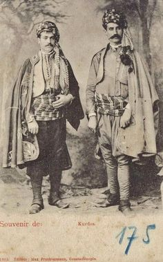 Two Kurdish noblemen in ceremonial attire.  Probably from the Diyarbakır area; photographed in Istanbul, 1899.