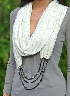 Scarf Necklace, Scarf Jewelry, Fabric Jewelry, Jewellery, Look Fashion, Diy Fashion, Womens Fashion, Fashion Sewing, Trendy Fashion