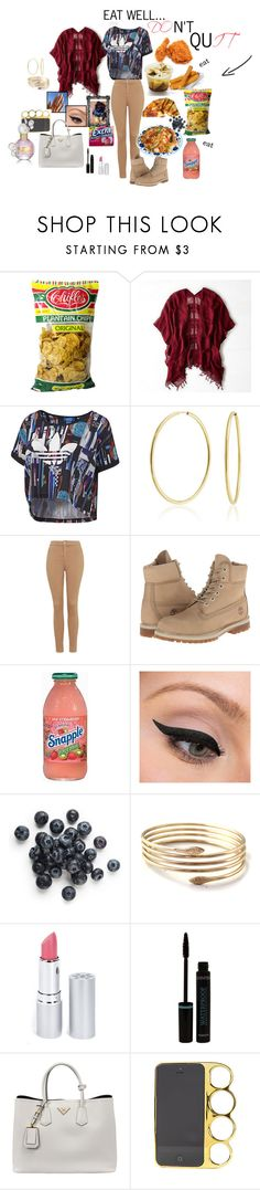 """EAT WELL"" by brooklynyorkie ❤ liked on Polyvore featuring American Eagle Outfitters, Bling Jewelry, Topshop, Timberland, Lab, LORAC, HoneyBee Gardens, Prada and Marc Jacobs"