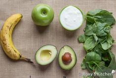 Creamy Banana Green Smoothie - Banana, Avocado, Green Apple, Yogurt, Spinach