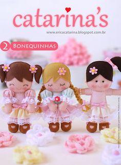 Amigas do Feltro! passo-a-passo das bonequinhas ~ How to make these handmade felt dolls Felt Fabric, Fabric Dolls, Paper Dolls, Doll Crafts, Diy Doll, Felt Patterns, Sewing Dolls, Doll Tutorial, Felt Toys