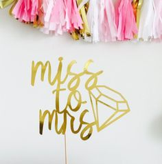 MISS TO MRS Cake Topper - Bride To Be- Bachelorette Party Decorations -  Bridal Shower 08a3fd712130