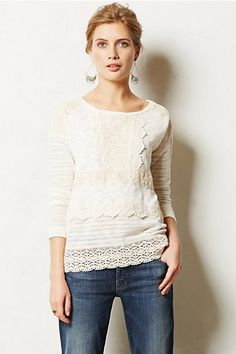 Crochet Heirloom Pullover. First off... anything with crochet gets my thumbs up.  Secondly very feminine.  Love it.
