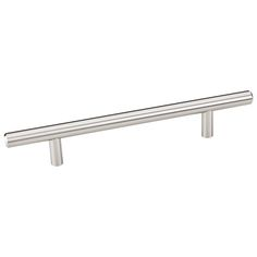 This satin nickel finish oversized cabinet bar pull with beveled edge design is a part of the Naples Series from the Elements Collection by Hardware Resources and is perfect for use on cabinet doors and drawers capable of accepting a mounted pull.