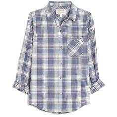 Current/Elliott Slim Boy Plaid Shirt (€175) ❤ liked on Polyvore featuring tops, shirts, flannels, plaid, blue, plaid button down shirt, 3/4 length sleeve tops, round top, plaid flannel shirt and blue button up shirt